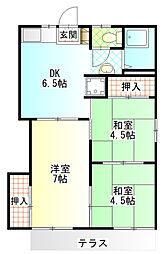 ロネット早川II 1階3DKの間取り