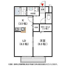兵庫県神戸市北区上津台2丁目の賃貸アパートの間取り
