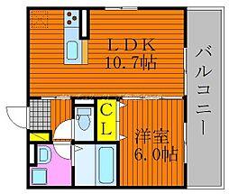JR伯備線 庭瀬駅 徒歩15分の賃貸アパート 2階1LDKの間取り