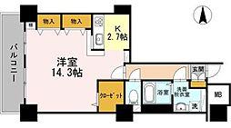 東京臨海高速鉄道りんかい線 品川シーサイド駅 徒歩1分の賃貸マンション 26階1Kの間取り