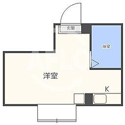 昭和グランドハイツ同心 10階ワンルームの間取り