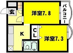 大阪府豊中市庄内幸町2丁目の賃貸マンションの間取り