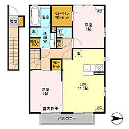 (仮)D-room高井町[201号室]の間取り