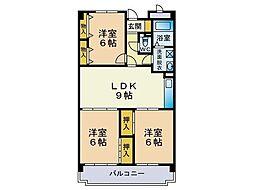 エリーナ箱崎[5階]の間取り
