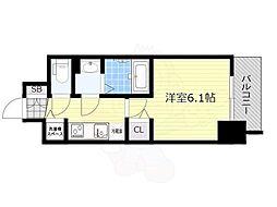 グランカリテ新大阪WEST 2階1Kの間取り