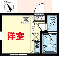JR横須賀線 保土ヶ谷駅 徒歩11分の賃貸アパート 2階ワンルームの間取り