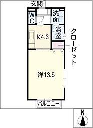 エンドール安井B棟[1階]の間取り