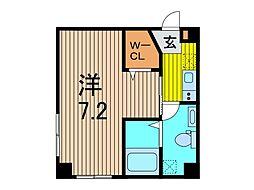 (仮)芝新町新築計画 2階1Kの間取り
