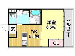 阪東ハイツ[2O1号室号室]の間取り