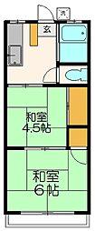 八石荘[203号室]の間取り