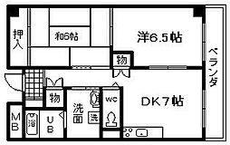 サンロワール和泉砂川 1階2DKの間取り