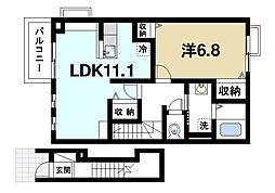 奈良県桜井市大字大福の賃貸アパートの間取り