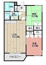 エバシオン平尾[203号室]の間取り