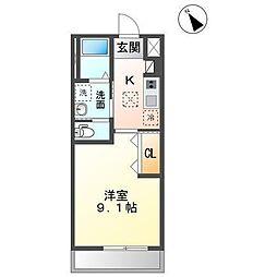 袖ケ浦市奈良輪2丁目新築アパート[1階]の間取り
