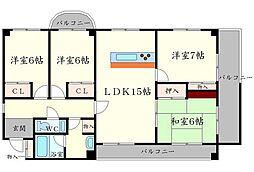 大阪府豊中市桜の町6丁目の賃貸マンションの間取り