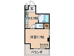 京都府京都市伏見区下油掛町の賃貸マンションの間取り
