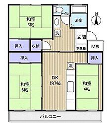 習志野台団地11街区4号棟[4階]の間取り