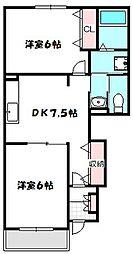 大阪府守口市東郷通2丁目の賃貸アパートの間取り