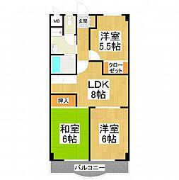 大阪府堺市東区草尾の賃貸マンションの間取り
