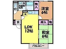 愛媛県松山市土居町の賃貸アパートの間取り