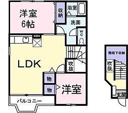 埼玉県新座市馬場2丁目の賃貸アパートの間取り