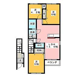 仮)大治町長牧新築アパート[2階]の間取り