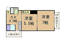 クラウンマンション[5階]の間取り