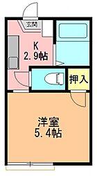 奈良県生駒郡斑鳩町阿波2丁目の賃貸アパートの間取り
