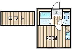 神奈川県横浜市中区矢口台の賃貸アパートの間取り