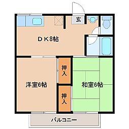 メゾン富士原[203号室]の間取り