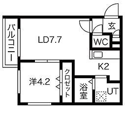 Steady State Asabu(ステディ ステート麻生) 2階1LDKの間取り
