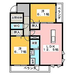 (仮)シャーメゾン牟呂公文町 1階2LDKの間取り