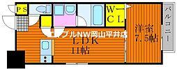 JR宇野線 備前西市駅 徒歩6分の賃貸マンション 2階1LDKの間取り