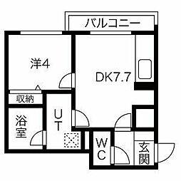 札幌市営東西線 西28丁目駅 徒歩11分の賃貸マンション 2階1DKの間取り