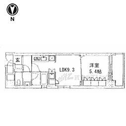 京都市営烏丸線 五条駅 徒歩13分の賃貸マンション 2階1LDKの間取り