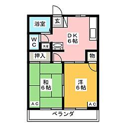 サンライズ B棟[1階]の間取り