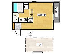 ヴィレッタ魚崎1 2階ワンルームの間取り