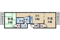 キャロル北桜塚[202号室]の間取り