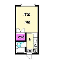 ア・ルエ東生田B[205号室]の間取り