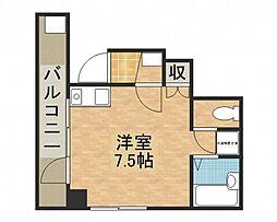 牛田東Uビル 2階ワンルームの間取り