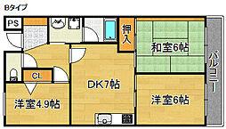 アジュールKIX[2階]の間取り