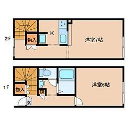 JR関西本線 木津駅 バス10分 梅美台3丁目下車 徒歩3分の賃貸アパート 1階2Kの間取り