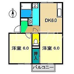 セジュール布師田[2階]の間取り