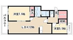 愛知県名古屋市瑞穂区下坂町2丁目の賃貸マンションの間取り