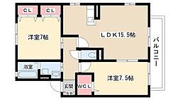 愛知県名古屋市守山区川北町の賃貸アパートの間取り