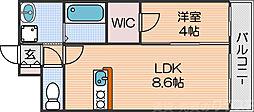 Osaka Metro四つ橋線 北加賀屋駅 徒歩8分の賃貸マンション 8階1LDKの間取り