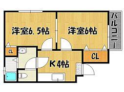 JR東海道・山陽本線 六甲道駅 徒歩15分の賃貸マンション 1階2DKの間取り