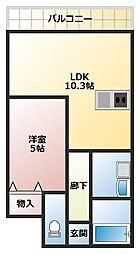 大阪府大阪市西成区松1丁目の賃貸マンションの間取り