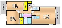 (仮)D−room白石西新町A棟[2階]の間取り