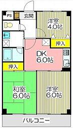 埼玉県蕨市中央5丁目の賃貸マンションの間取り